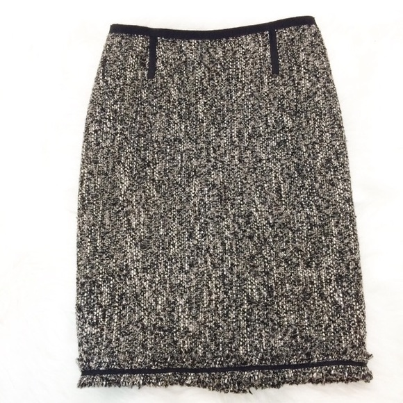 4a90513af1 Talbots Skirts | Tweed Pencil Skirt With Fringe Hem Lined | Poshmark